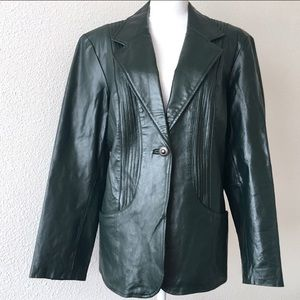Denim & Company green leather blazer lined EUC L